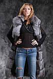 Жилет из чернобурки SAGA с отстегивающимся подолом Silver fox fur vest gilet sleeveless, фото 3