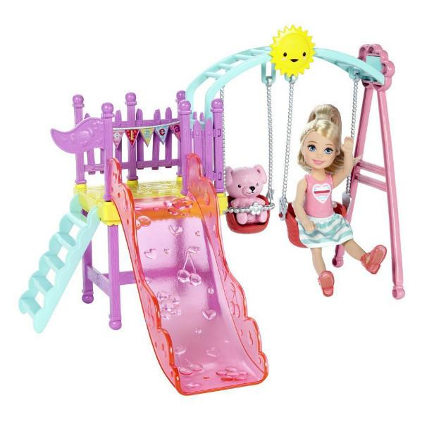 Barbie Развлечения Челси Качели с горкой Club Chelsea Swing Set DWJ46