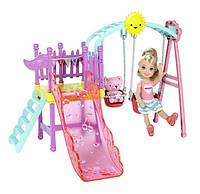 Barbie Развлечения Челси Качели с горкой Club Chelsea Swing Set DWJ46, фото 1