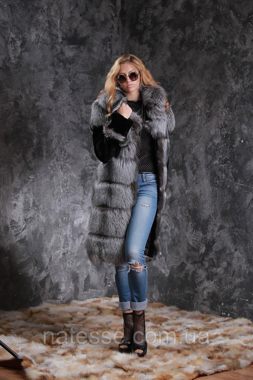Шуба полушубок жилет из чернобурки SAGA рукава из мутона silver fox fur coat jacket vest gilet