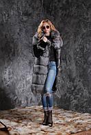 Шуба полушубок жилет из чернобурки SAGA рукава из мутона silver fox fur coat jacket vest gilet, фото 1