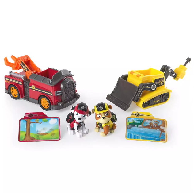 Paw Patrol Щенячий патруль Руби и Маршал Mission Paw Figure 2 Pack Marshall and Rubble with Mission Rescue Vehicles