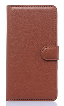 Кожаный чехол-книжка для Samsung galaxy j1 2015 j100 коричневый