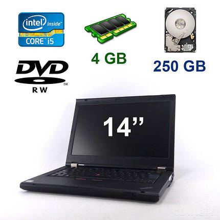 """Lenovo ThinkPad T420 / 14"""" (1336x768) / Intel Core i5-2410M (2(4) ядра по  2.30-2.90GHz) / 4 GB DDR3 / 250 GB HDD / DVD-RW / Webcam, фото 2"""