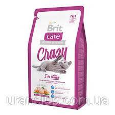 """Гипоаллергенный корм с курицей и рисом для котят (1-12 мес.) Brit Care """"Crazy"""" Kitten 2 кг"""
