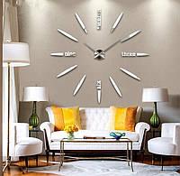 Настенные 3D часы 4212 Серебристые для дома большие самоклеющиеся 16-4212-1, КОД: 313376