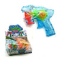"""Пистолет с подсветкой, пускающий пузыри """"Динозавр"""" (голубой) 3F-8"""