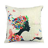 Декоративная наволочка для диванных подушек Девушка Весна, Разноцвет, 40х40