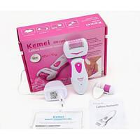 Роликовая пилка для ног Kemei электрическая аккумуляторная Original Бело-розовая (KM2502) Оригинал