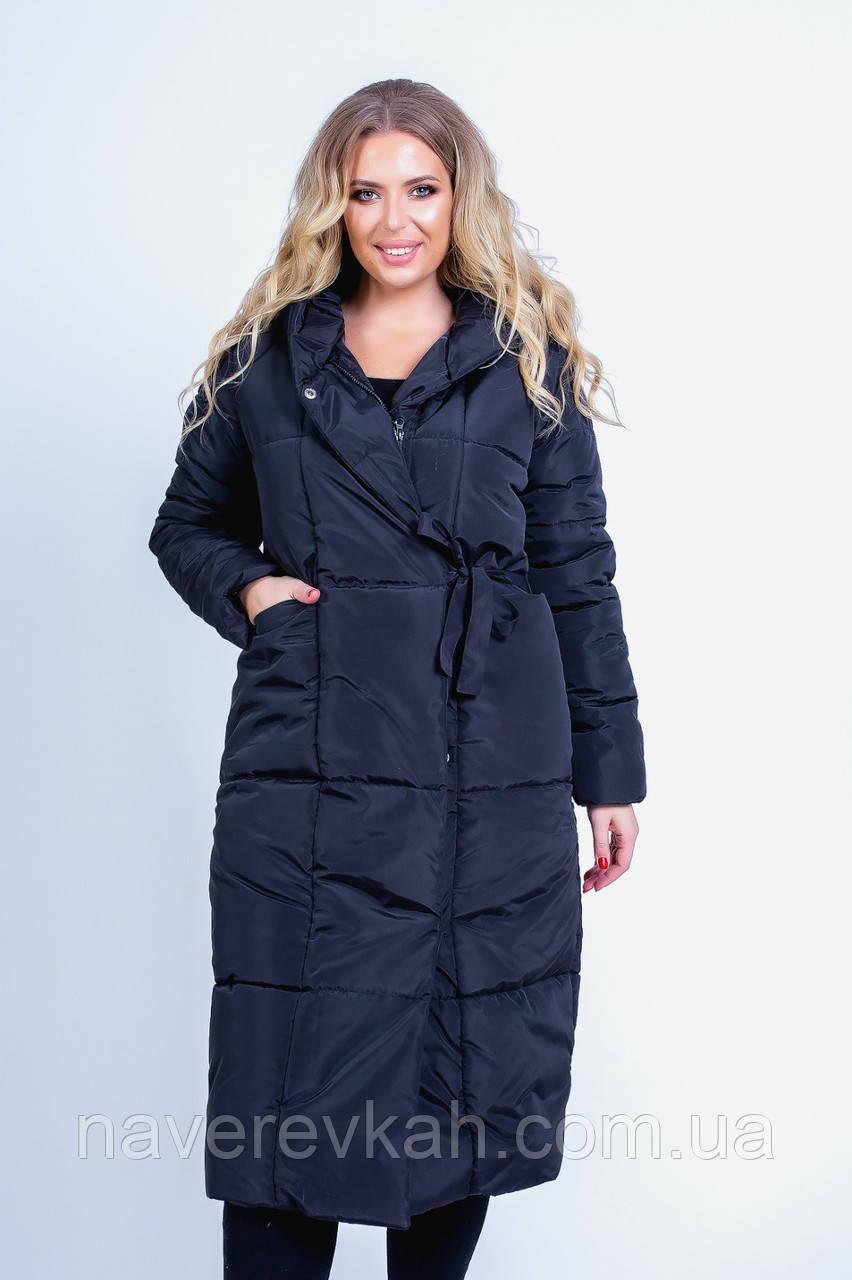 Женское зимнее теплое пальто одеяло на синтепоне черный синий красный бежевый бутылка 42-44 46-48 50-52