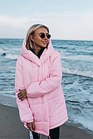 Женская зимняя теплая куртка плащевка на синтепоне хаки черный бордо розовый оливка беж красный СМ МЛ