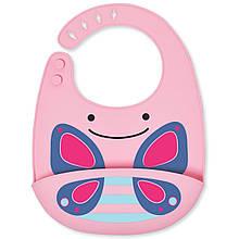 Skip Hop Силиконовый слюнявчик Бабочка Zoo Fold Go Silicone Bib Pink Butterfly