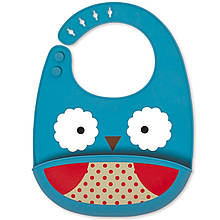 Skip Hop Силіконовий слюнявчик Совушка Zoo Fold Go Silicone Bib Blue Owl