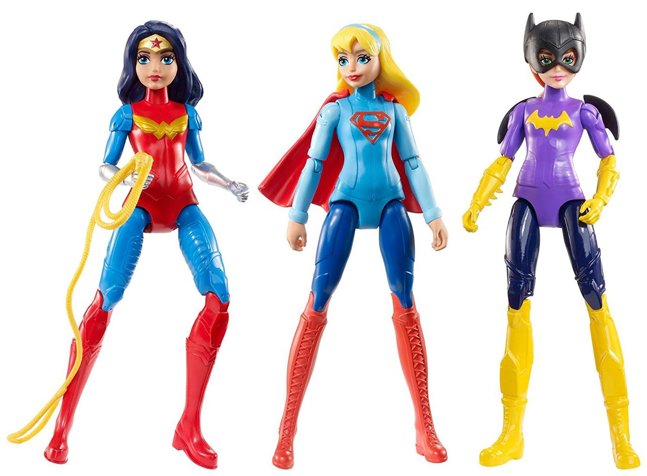 DC Super Hero Girls Супер герои  набор из 3-х кукол Бэтгерл, Чудо Женщина, Супергёрл Action Figure 3 Pack