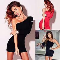 Женское платье на одно плечо трикотаж черное красное S-М М-L, фото 1