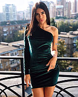 Женское платье бархат бордо бутылка чёрный бутылка черный бордо S-М М-L, фото 1