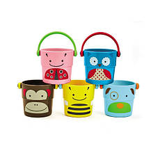 Skip Hop Набор ведерок для купания Zoo Stack and Pour Buckets, Rinse Cups, Multi