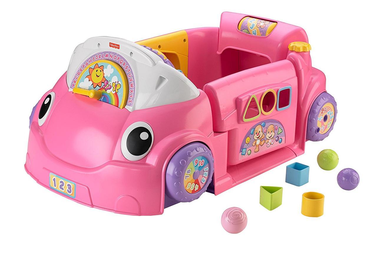 Fisher-Price Смейся и учись развивающий центр, машинка, сортер Laugh Learn Smart Stages Crawl Around Car Pink
