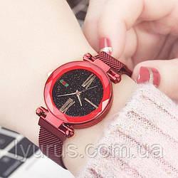 Стильні жіночі годинники Starry Sky Watch. Червоні. Скай воч.