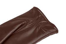 Мужские перчатки из натуральной кожи модель 068 каштан на подкладке из натурального меха, фото 3
