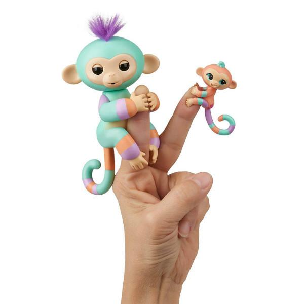 WowWee Fingerlings Интерактивная ручная обезьянка с малышкой Danny Gianna Baby Monkey Mini Bffs Interactive