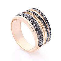 Золотое кольцо (черные фианиты)