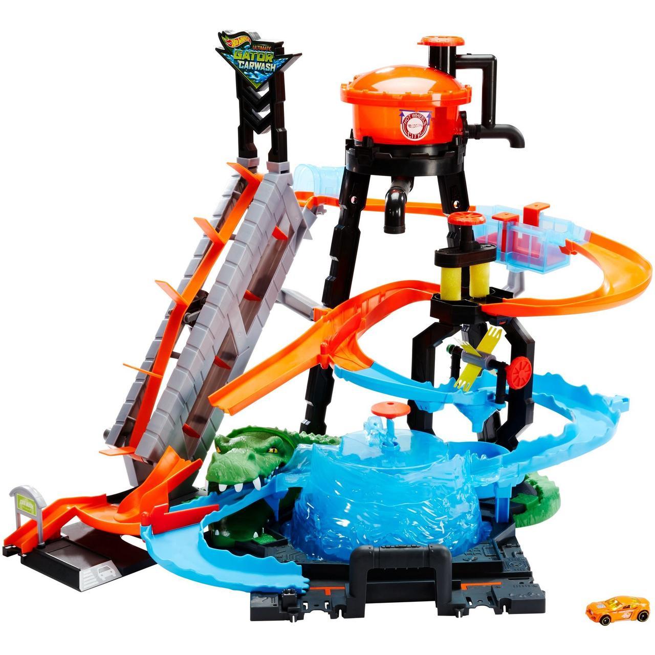 Hot Wheels Трек измени цвет водонапорная башня взрыв цветов Ultimate Gator Car Wash Play Set with Color