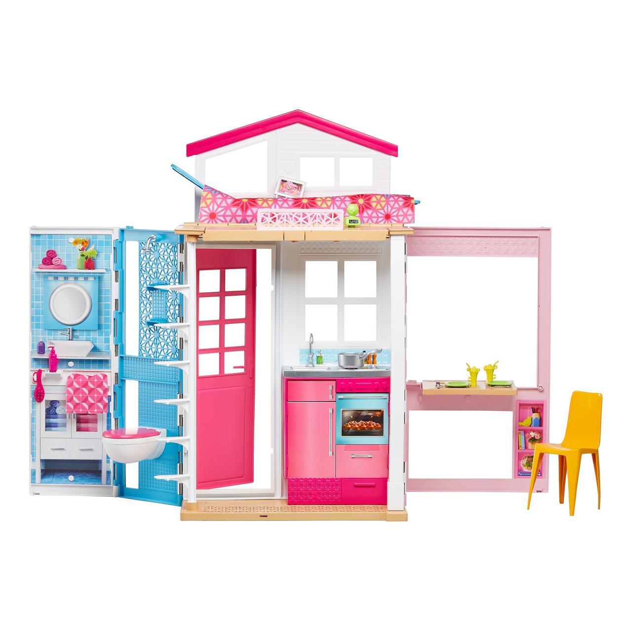 Barbie Гламурный портативный домик Барби без куклы дом 2-Story House DVV47 Close-and-Go Portable Playset