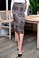 Прямая юбка BRIGITTE в леопардовый принт, приталенного силуэта со шлицей
