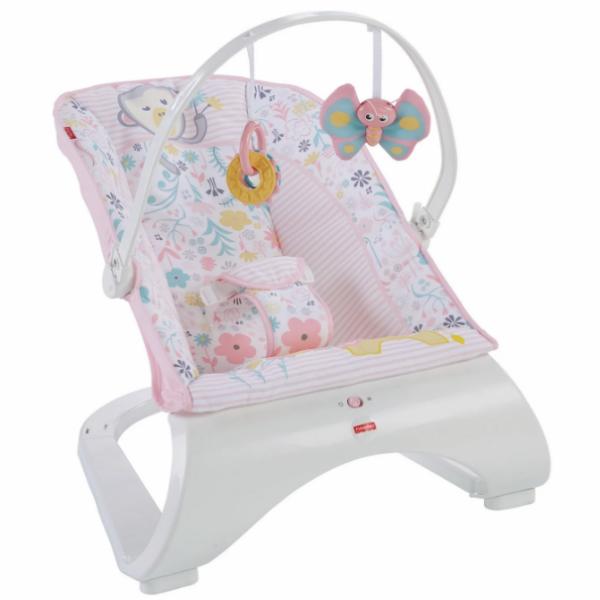 Fisher-Price Детский шезлонг кресло-качалка обезьянка Comfort Curve Bouncer Tiny Tea Time