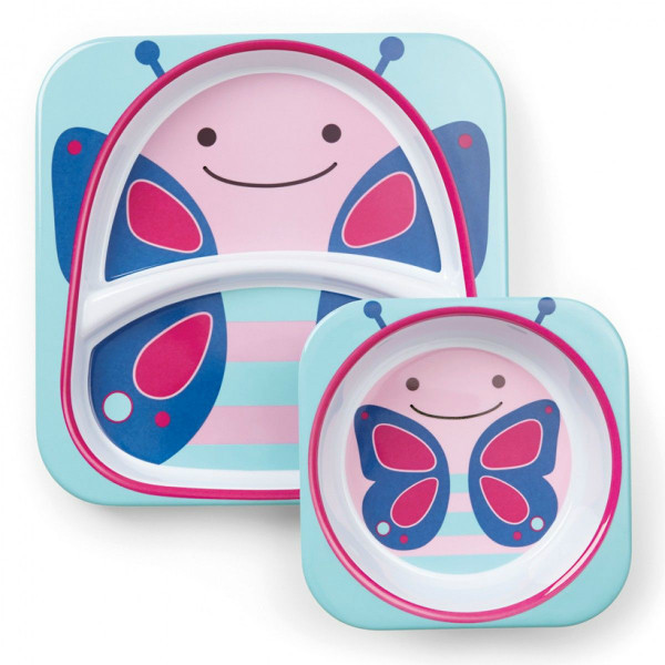 Skip Hop Zoo Набор детских тарелок Бабочка Butterfly dakota Melamine Plate Bowl