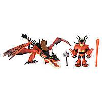DreamWorks Как приручить дракона 3 дракон крюкоклык и сморкала Dragons Hookfang and Snotlout Dragon with Armored Viking Figure