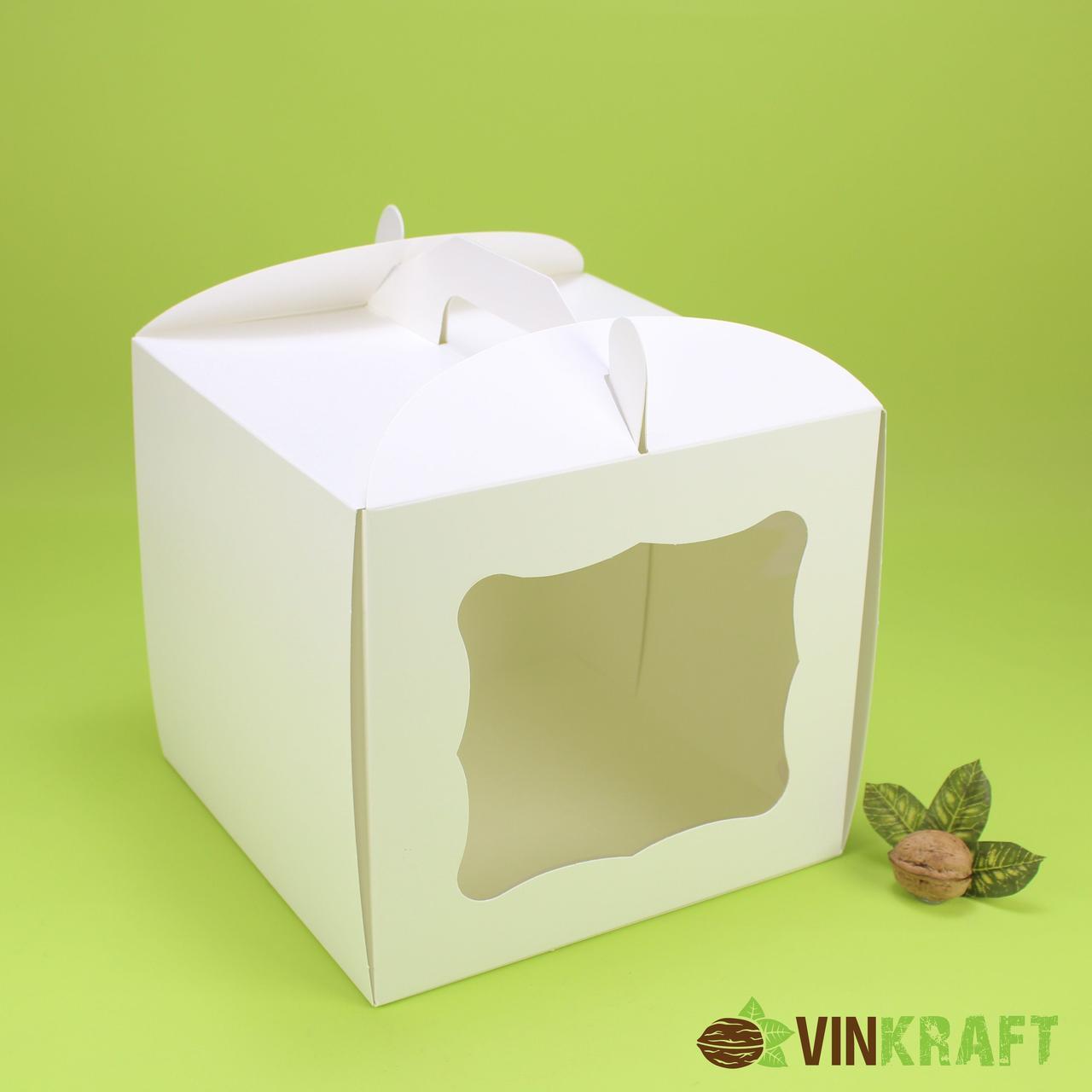 Коробка 230*230*210 для торта с окном, белая