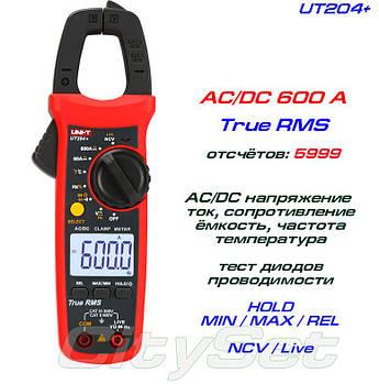 UT204+, токовые клещи TrueRMS, AC/DC  600A
