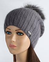 Зимняя женская шапочка с помпоном Опал графит