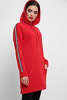Платье-худи красного цвета с начесом, фото 1