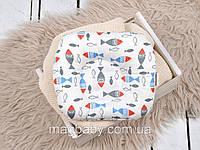 Подушка для новорожденных Классик, цветные рыбки