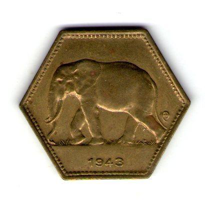 Бельгийское Конго 2 франка 1943 год