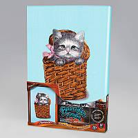 Вышивка гладью на подрамнике Котик в корзинке, VGL-02-03