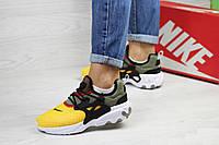 Женские кроссовки темно зеленые с желтым Nike Presto React 7969