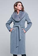 """Длинное пальто с мехом """"Айрис"""" серое, фото 1"""