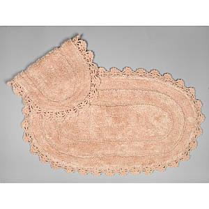 Набір килимків з гіпюром 2 предмета Afro персикові Arya AR-TR1004386-persik