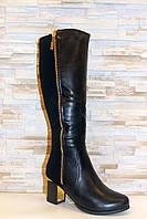 Сапоги женские черные на каблуке зимние С866, фото 1