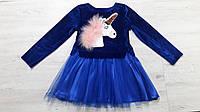 Модное детское платье из велюра и фатина
