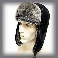 """Мужская шапка из овчины """"Ушанка"""" (чёрная с серым мехом)"""