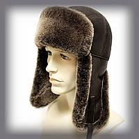 """Мужская шапка-ушанка из овчины """"Длинные уши"""" (коричневая)"""