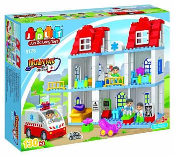 """Конструктор JDLT 5176 (аналог Lego Duplo) """"Пункт скорой помощи"""" 130 деталей"""