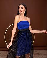 Платье нарядное из полированного коттона, корсетная лента, платье-корсет и юбка из сетки (42-44) Синий
