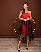 Платье нарядное из полированного коттона, корсетная лента, платье-корсет и юбка из сетки (42-44) Красный