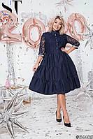 Нарядное клешное платье из коттона с гипюром и подкладочная ткань, декор стразы,  рукав три четверти (50-54), фото 1
